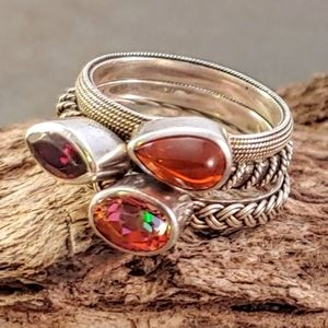 Lori Bonn Sterling Stackable Textured Stone Rings